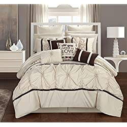 Chic Home CS2755-AN Ashville 16 Piece Comforter Set, Off-White, King