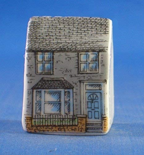 Miniature House Thimbles Set of Three Porcelain China Collectable Shops