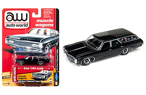New 1:64 AUTO WORLD JOHNNY LIGHTNING MUSCLE WAGONS COLLECTION - BLACK 1969 CHEVROLET KINGSWOOD ESTATE Diecast Model Car By Auto World Chevrolet Kingswood Wagon