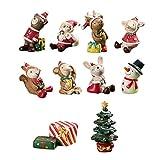 YOUDirect Bonsai Ornaments – 10 PCS Resin Mini Animals Snowman Santa Claus Christmas Tree Micro Garden Landscape Plant Pot Craft Dollhouse Decor Toys