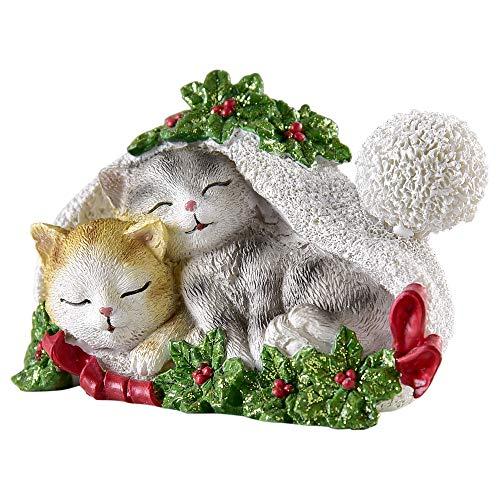 Sleeping Kitten Pair in Santa Hat Glitter 4 x 4 Inch Resin Stone Christmas Figurine