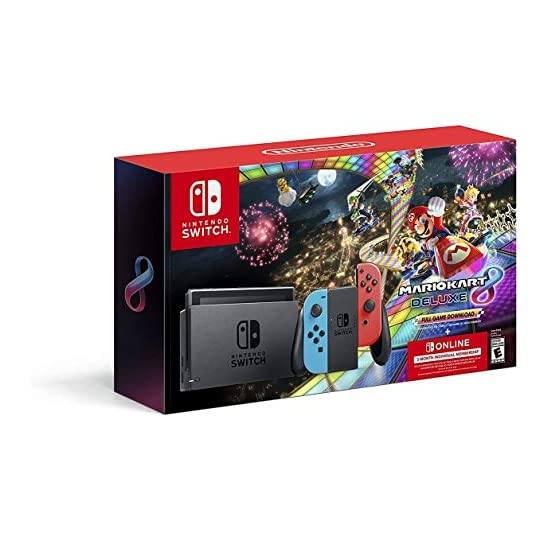Nintendo Switch w/ Neon Blue & Neon Red Joy-Con + Mario Kart 8 Deluxe (Full Game Download) + 3 Month Nintendo Switch…