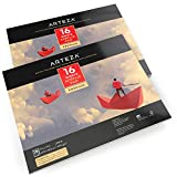 """ARTEZA 11x14"""" Acrylic Pad, Pack of 2, 32 Sheets (246lb/400gsm), 16 Sheets Each, Glue Bound Artist Acrylic Paper Pads, Ideal for Acrylic Painting"""