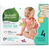Seventh Generation Baby Diapers, Free and Clear for Sensitive Skin, Original No Designs, Size 4, 135ct (Packaging May Vary)