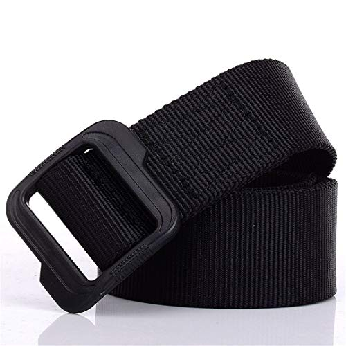 (Outdoor Casual Nylon Casual Canvas Belt Plastic Buckle Waist Strap Mens Military Tactical Belt Black 120cm)