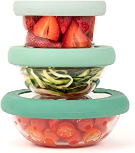 Food Huggers Flexible, Stackable,Eco-Friendly, Patented, Glass & Silicone Bowl Lids - Dishwasher Safe - Plastic Free, Set of three, Gradual Green, Extra Small, Small and Medium (XS,S,M)