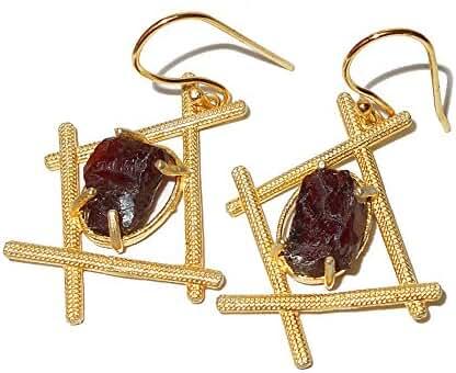 Handcrafted Natural Garnet Gemstone Dangle Earrings