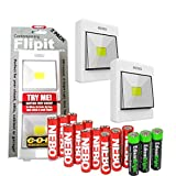 4 Pack Nebo Contemperory Flipit 240 lumen COB LED Magnetic room/closet/shed light 6558 with 3 X EdisonBright AAA Alkaline batteries bundle