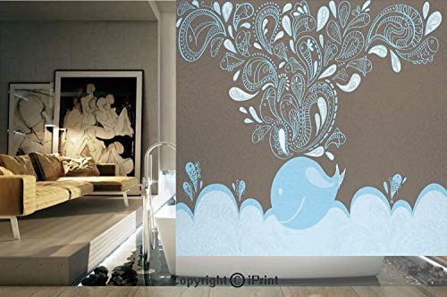 Decorative Privacy Window Film/Baloon Like Whale in the Ocean with Bubbles Cartoon Batik Tribal Style Image/No-Glue Self Static Cling for Home Bedroom Bathroom Kitchen Office Decor Blue and Brown ()