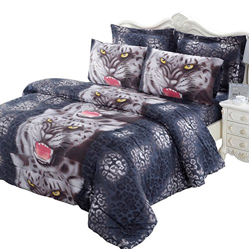 Junhome 3d Bedding Set King Size Leopard Printed Duvet Cover Set King Sheet Set for Kids Zipper Closer Quilts Cover Reversible Summer Breathable Flat Sheet with 2 Pillow (Reversible Leopard)