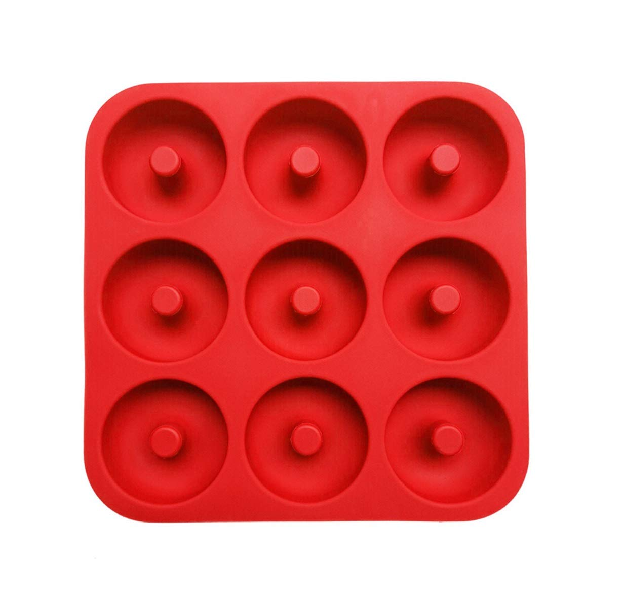 2Packs Silicone Donut Pan, Suntake 9 Holes Non Stick Silicone Doughnut Baking Molds (Red)