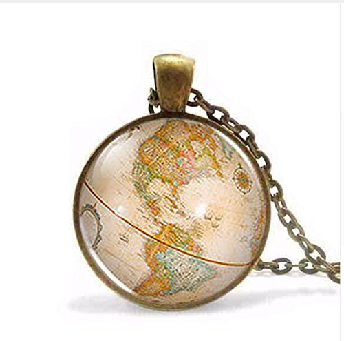 Steampunk 2017 New Vintage Antique World Globe Map Pendant Necklace in Wonderland Jewelry Charm Gift Women Men Chain (2)]()