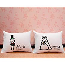 Personalized custom Cute Cartoon Cushion Cover for Engagement or Wedding gift