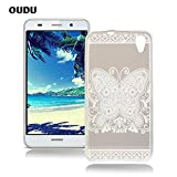 OuDu Silicone Case for Huawei Y6 Soft TPU Rubber Cover Transparent Flexible Slim Case Smooth Lightweight Skin Ultra Thin Shell Creative Design Cover - White Butterfly