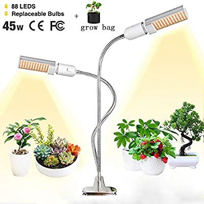 LED Grow Light for Indoor Plant,LINKO 45W Sunlike Full Spectrum Grow Bulbs Lamps,Plant Grow Light with Replaceable Bulb with Newest Auto Timer, 3/6/12H Timing, Professional for Seedling Growing Bloo