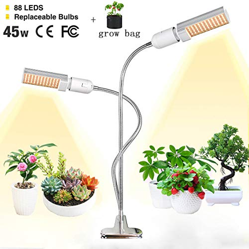 LED Grow Light for Indoor Plant,LINKO 45W Sunlike Full Spectrum Grow Bulbs Lamps,Plant Grow Light with Replaceable Bulb with Newest Auto Timer, 3/6/12H Timing, Professional for Seedling Growing Bloo ()