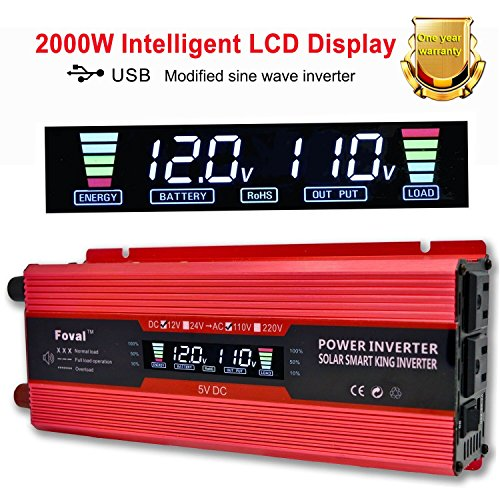IpowerBingo 1000W/2000W Power Inverter Dual AC Outlets and Dual USB Charging Ports DC 12V to 110V AC Car Converter with Digital Display by IpowerBingo