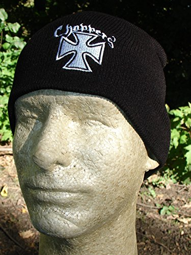 Embroidered Biker Black White Choppers Maltese Iron Cross Beanie Stocking Cap Hat Winter