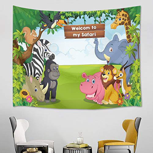 HVEST Wild Animal Tapestry Safari in Forest Wall Hanging Spring Scenery Tapestries for Kids Bedroom Living Room Dorm Wall Decor Birthday Party Backdrop,60Wx40H inches]()