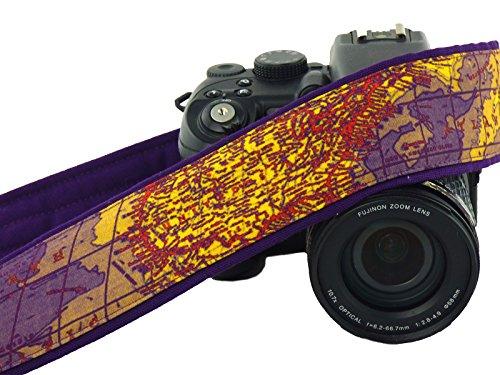 DSLR Camera Strap. Map Camera Strap. Padded Camera Strap. Dark Purpe. Camera Accessories. SLR Camera Strap. Traveler Gift; 233