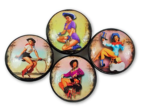 Set of 4 Pin Up Cowgirl Wood Cabinet Knobs