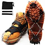 MOTYYA Traction Cleats Ice Snow Grips Anti-Slip Stainless Steel 18 Spikes Crampons Non-Slip ice Climbing Shoes Cover for Walking, Hiking, Jogging with Portable Bag