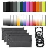 Neewer® 24 Stück Quadratisch Voll & graduierte Objektiv Filter Kit für Cokin P-Serie, Kit enthält: (16) Voll & graduierte Farbfilter (Blau, Orange, Braun, Rosa, Rot, Grün, Gelb, Lila, G.Blue, G. Orange, G.Brown, G.Pink, G.Red, G.Green, G.Yellow, G.Lila) + (4) Ganz ND Filters (ND2, ND4, ND8, ND16) + (3) graduierte ND Filters (G.ND2, G.ND4, G.ND8) + (1) Sonnenuntergang Filter + (1) Filterhalter + (9) Adapterringe (49/52/55/58/62/67/72/77 / 82MM) + (4) Filter Tragebeutel
