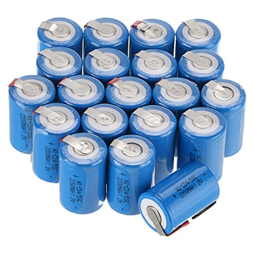 WindMax US SELLER Blue Color 20 PCS 1.2V 2200mAh Ni-Cd NiCd Rechargeable Battery Batteries 4/5 Sub C SC with Tabs