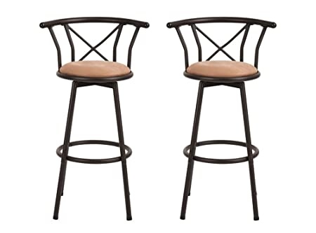 Set Of 2 Vintage Style Industrial Bar Chairs Bar Stools With Foot Rest  Design Swivel Plate