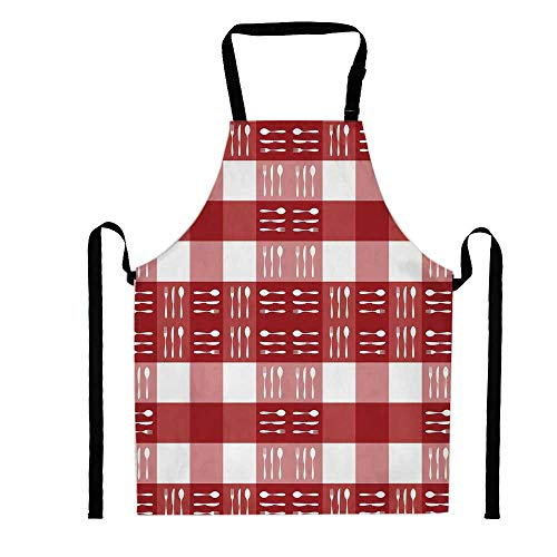 YOLIYANA Cutlery Silhouettes on Squares Dining Picnic Themed Tile Spoons Forks Knives Decorative,Unisex Kitchen Bib Apron with Adjustable Neck for Cooking Baking Gardening, Multicolor