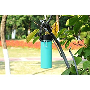 Hydro Flask Paracord Handle Holder, Glink General Hydro Flask Nalgene CamelBak for Wide Mouth Water Bottle Carrier, Strap Cord with Safety Ring and Carabine - Gray/Black