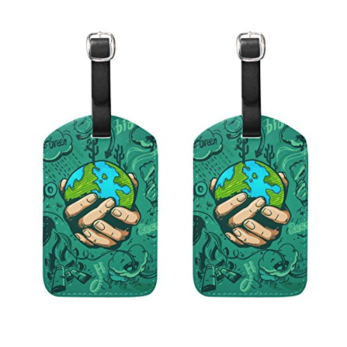 Lorvies Human Hands Holding Earth Luggage Tags Travel Labels Tag Name Card Holder For Baggage Suitcase Bag Backpacks  2 Pcs