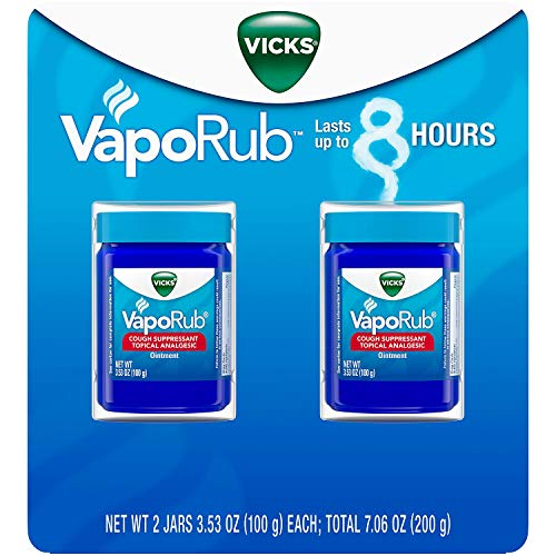 Vicks Vaporub Topical Cough Suppressant Ointment 3.53 Oz (Pack of 2) (3.53 Ounce Cream)