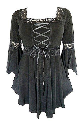 Victorian Peasant Girl Costume (Women's Victorian Gothic Boho Angel Corset Top (US 0, Black))