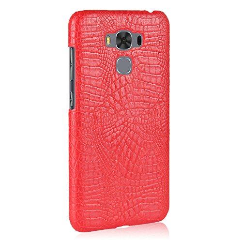 YHUISEN Patrón de piel de cocodrilo clásico de lujo [ultra delgado] cuero de la PU anti-rascar la cubierta protectora de la caja dura de la PC para Asus Zenfone 3 Max ZC553KL (5.5 pulgadas) ( Color :  Red
