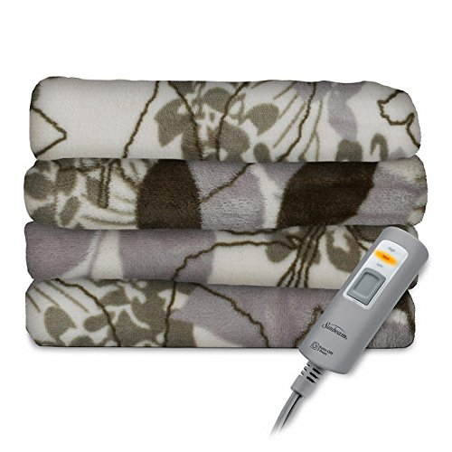 Sunbeam Electric Heated Throw Blanket Velvet Plush Washable 3 Heat Setting Auto-off Controller (Green Floral)