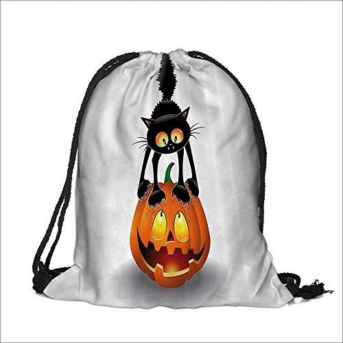 Storage Bag Black Cat Pumpkin Head Spooky Carto Characters Halloween Humor Themed Machine Washable Sturdy Rip-Stop Material 12