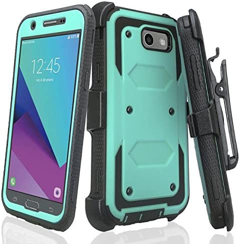 Atom Cloth Belt Holster Clip Dual Layer Rugged Cases with Bubble Free Tempered Glass Screen Protectors - Samsung Galaxy J7 American Flag, Tree Camo 2 Pack J7 V, Perx, J7 Prime, Sky Pro, Halo