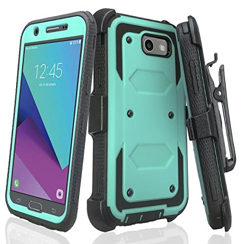 Galaxy J7v Case / J7 (2017) / J7 Perx Case / J7 Sky Pro/Galaxy J7 Prime Case, Heavy Duty Belt Clip Holster [Built in Screen Protector] Full Body Protection for Galaxy Halo - Teal