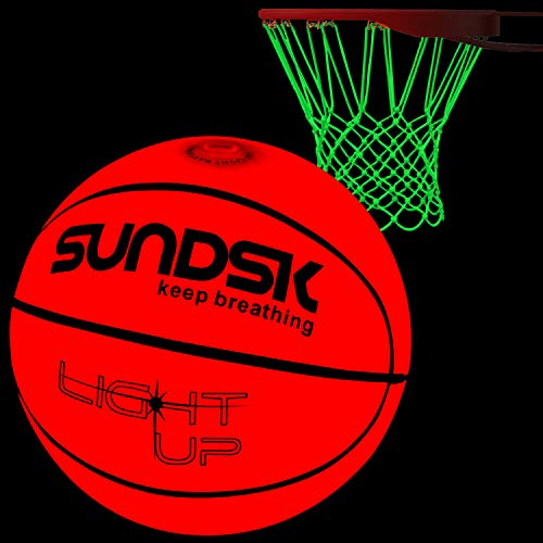 SCIONE Light Up Basketball Hoop Kit with LED Outdoor Basketball and Glow in The Dark Basketball Net Size 7- Official Size & Weight - Night Basketball Sports]()