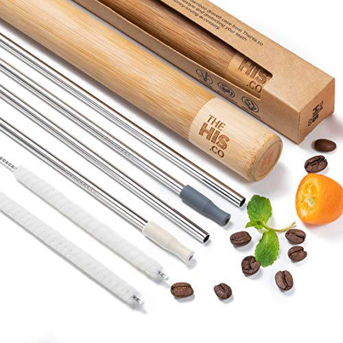 Reusable Stainless-Steel Drinking Straws Set | 4 Metal Straws w/Cotton Cleaning Brushes,Silicone Tips,Bamboo Travel Case| for Cocktails,Smoothie,Tumbler Use by TheHis.co