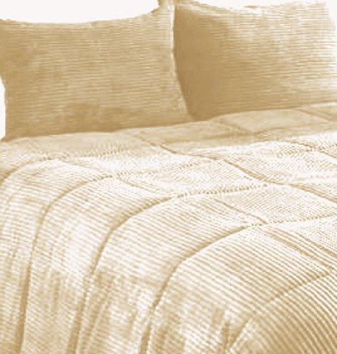 - Newpoint Microplush Corduroy Full/Queen Comforter Mini Set, Natural