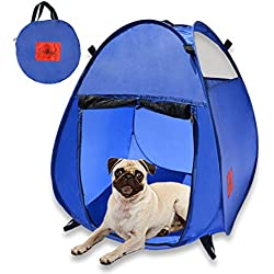 MyDeal Pop Up Pet House in a Bag for Portable Play Pen or Kennel Tent with 3 Net Windows and Zipper Door for Shade , Shelter and Safety . Perfect for Dog , Cat , Rabbit + More!