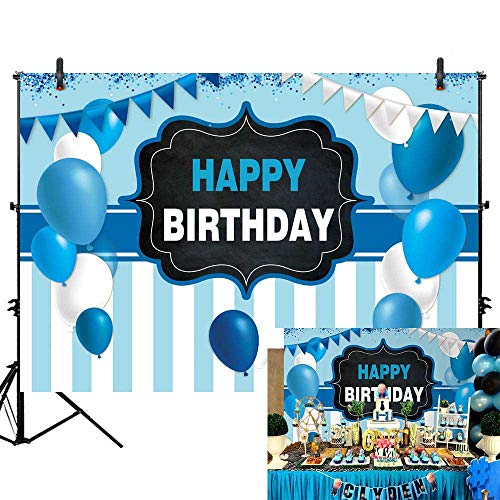 Allenjoy 7x5ft Blue and White Balloons Birthday Party Backdrop Glitter Flags Stripes Photography Background Boys Kids 1st First Birthday Party Banner Decorations Cake Table Banner Photo Studio Prop ()