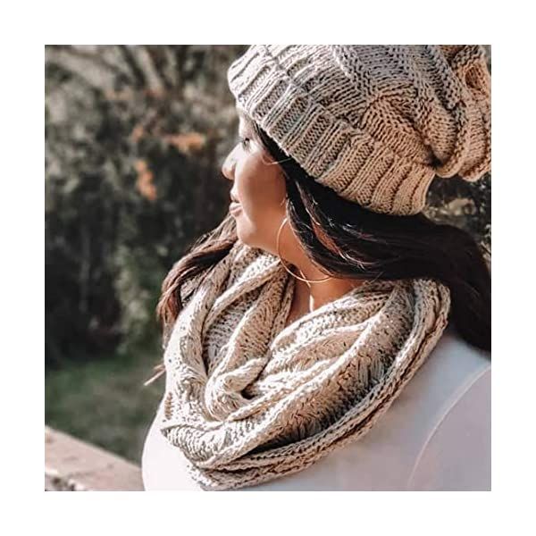 Funky Junque's Beanies Matching Ribbed Winter Warm Cable Knit Infinity Scarf