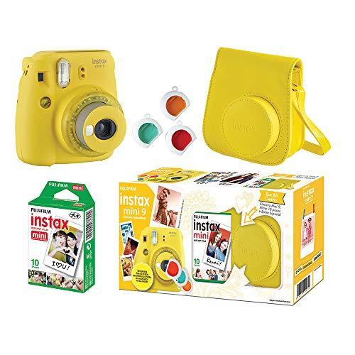 Câmera Instantânea Fujifilm Instax Mini 9 Com 3 Filtros Coloridos, Bolsa e Filme 10 Poses – Amarelo Banana, Fujifilm, 705065383, Amarelo Banana