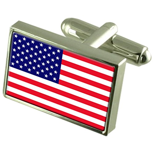 United States Sterling Silver Flag Cufflinks in Engraved Personalised Box by Select Gifts