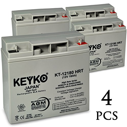 TaoTao ATE-502 M 12V 18Ah / Real 20.0Ah AGM - SLA Sealed Lead Acid HIGH RATE Deep Cycle Battery for UPS Wheelchair Scooter and Mobility - Nut & Bolt L1 - 4 Pack by KEYKO