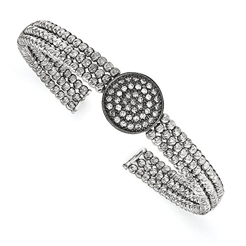 (Jewelry Bracelets Bangles Sterling Silver Black Rhodium-plated 3-strand Beaded Swarovski Crystal Cuff)