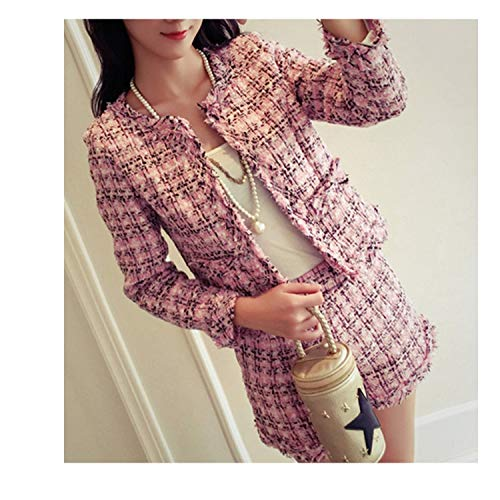 This is an Upgrade Product,2018 Tweed Fashion Fringed Trim Jacket Coat + Tassels Short Suit,Pink,M